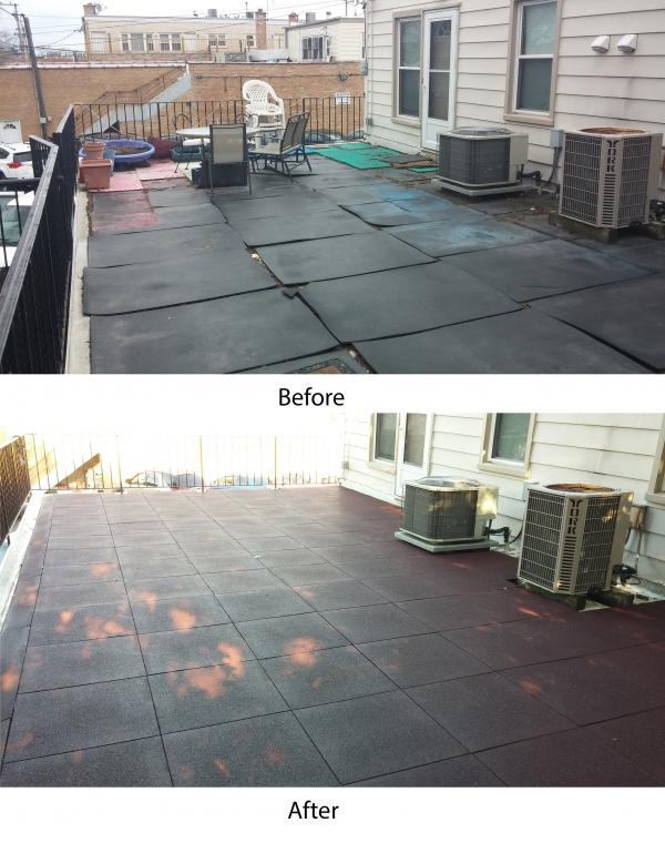 Sterling Rooftop Tiles will not curl like the previously used rubber mats.