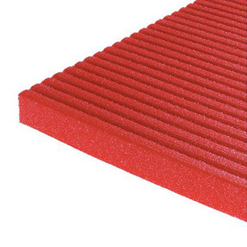 Airex exercise mat showing top of red mat.