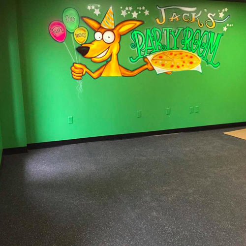rubber flooring in party room