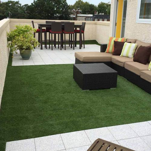 Artificial Grass Turf Tile 1x1 ft 25 mm customer install.