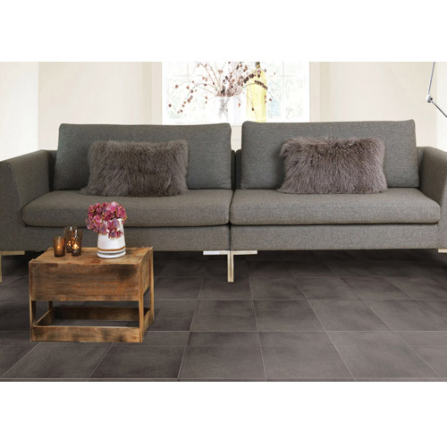 Leather PVC Floor Tile Colors showing couch.