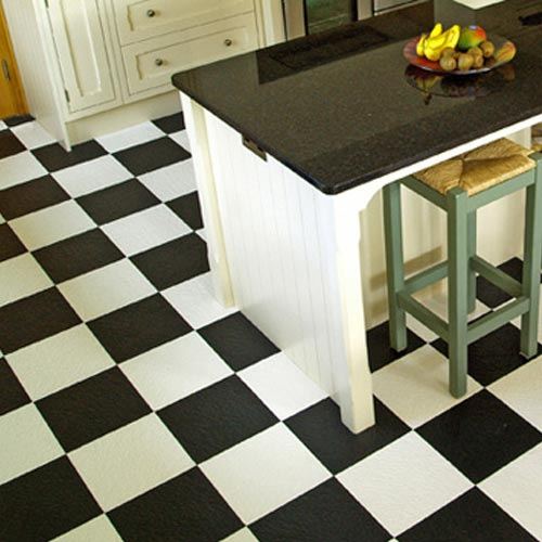 Home Style Slate Floor Tile Colors checkered kitchen.