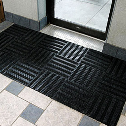 Entrance Tile 1/2 inch Black w/Charcoal Carpet cross install.