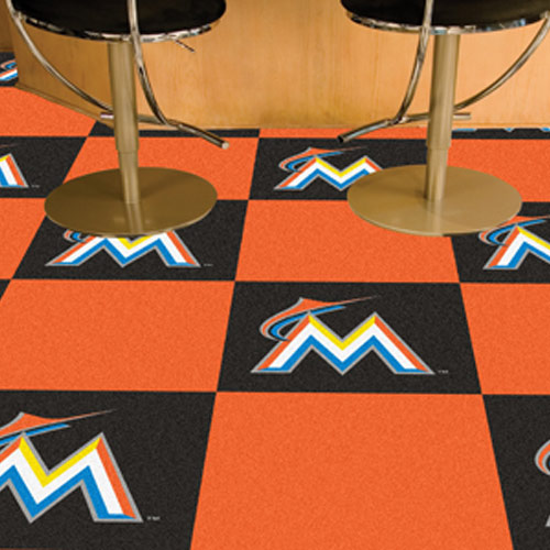 MLB Miami Marlins Carpet Tile, Durable Carpet Tiles 18x18 Inches