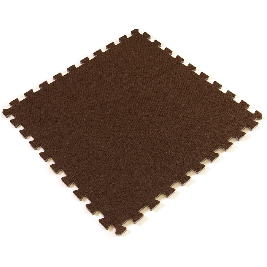 Eco interlocking carpet tiles full tile view of the color Dark Chocolate