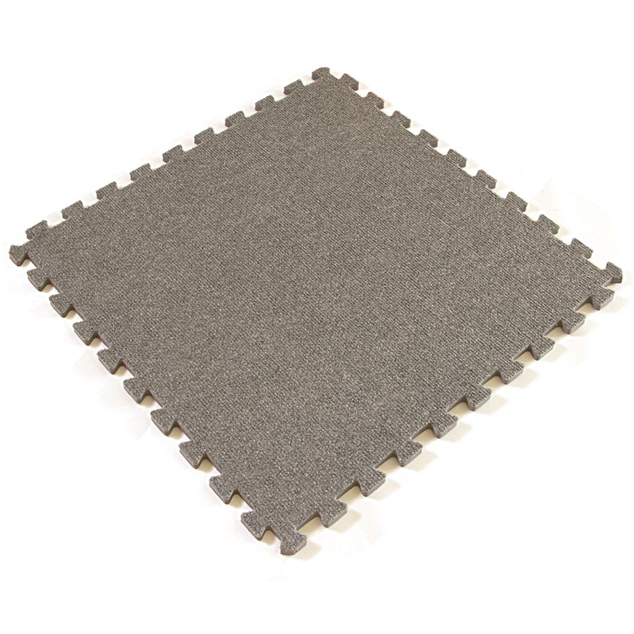 Eco interlocking carpet tiles full tile view of the color Gray