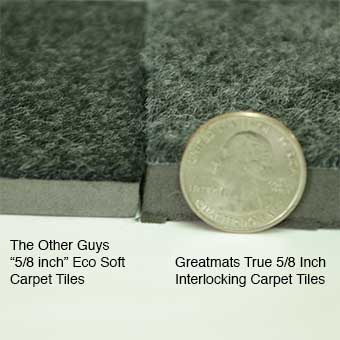 Royal Interlocking Carpet Tile thickness comparison on 5/8 inch thickness material.