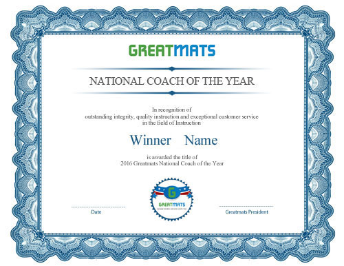 Greatmats National Coach of the Year Certificate