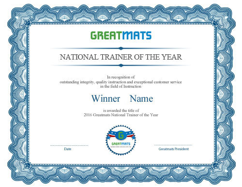 Greatmats Trainer of the Year Certificate
