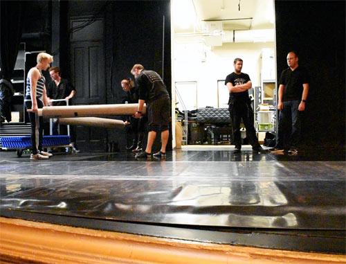 Rolling Out Marley Floor Over Dance Studio Subfloor Elite