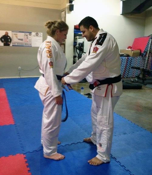 Rafael Ellwanger Promotes Brea to Purple Belt on Greatmats Grappling MMA Mats