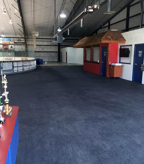 Monroe Youth Hockey Commons with rubber flooring