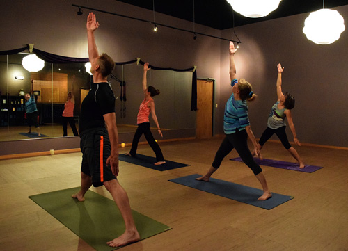 David Younglove participating in yoga class at Platinum Yoga