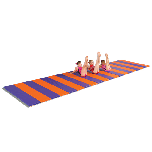 gym mat 5x10 ft x 2 inch v2 custom purple and orange end to end connection