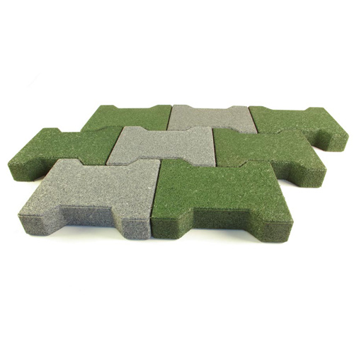 Dog Bone Outdoor Paver Tiles 1-3/4 Inch All Colors Gray and Green Tile Pattern.