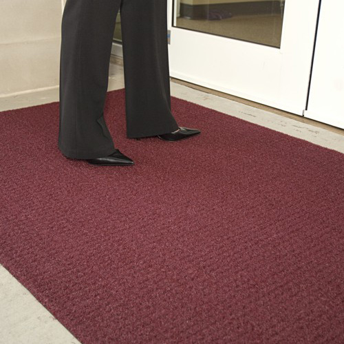 Brush Hog Plus Indoor Outdoor Entrance Mat 32x55 inches burgundy.