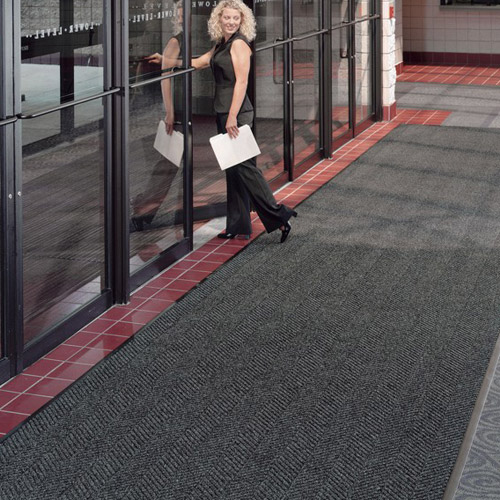 Waterhog Eco Elite Roll Goods Indoor Outdoor Matting 6 x 67 ft gray entrance.