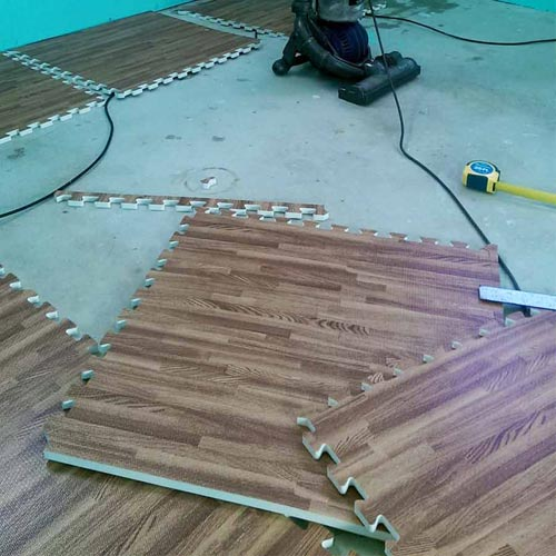 Foam Tiles Wood Grain prep.