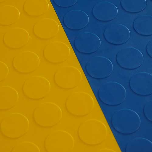 garage floor tile coin blue tile connected with yellow tile