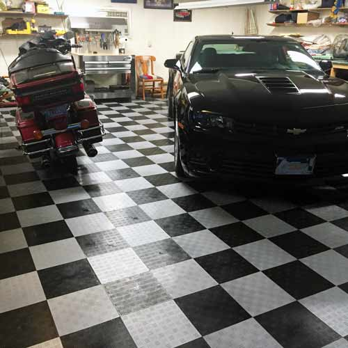 tiles garage mats parking flooring davidson feature mat canada floor harley