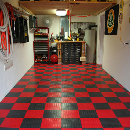 Rubber Garage Floor Mats >> Home Garage Flooring - Snap Coin Garage Tile, Plastic Garage Floor