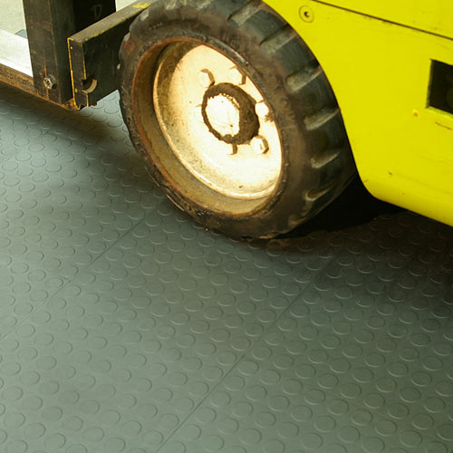 HiddenLock Coin Top Gray showing forklift on tile.