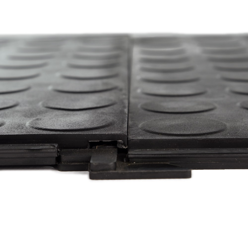 HiddenLock Coin Floor Tile Black interlock.