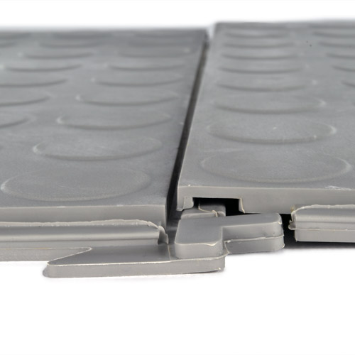 HiddenLock Coin Floor Tile Gray interlock.