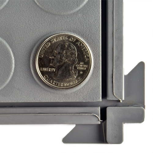 HiddenLock Coin Floor Tile Gray quarter.