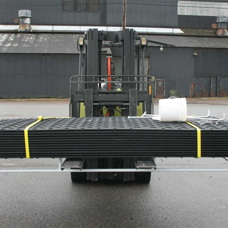Ground Protection Mat-Pak 3x8 Ft White Mat-Pak on forklift