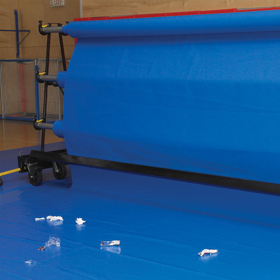 Self Cleaning Brush Attachment Sweeps As Gym Floor Cover