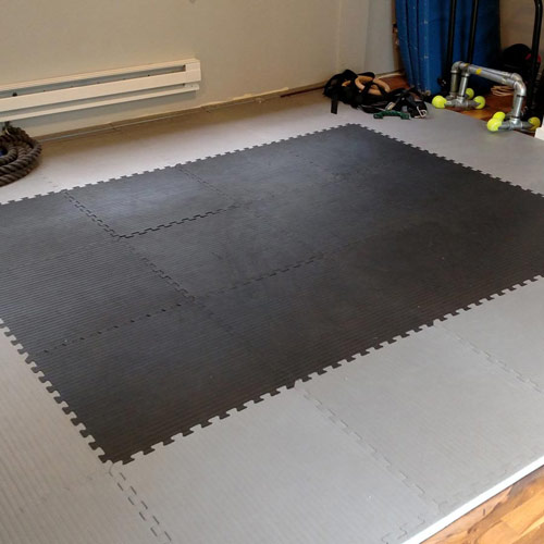 Home MMA BJJ Mats 1-5/8 Inch black and gray.