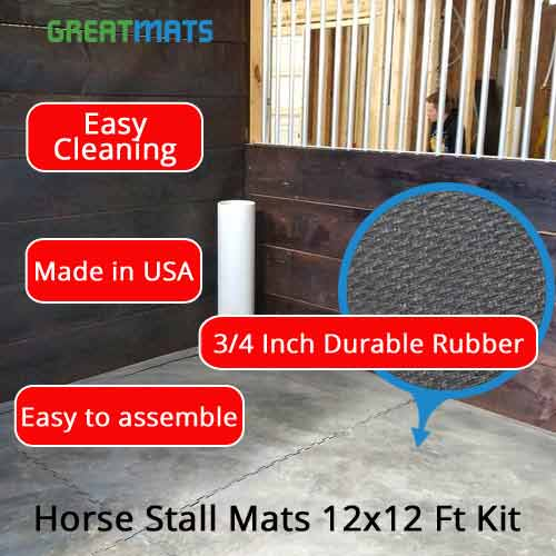 horse stall mats 12x12 ft kit infographic