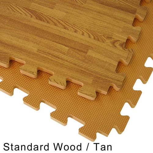 Interlocking Floor Tiles Foam Mat wood reversible standard tile. - Wood Grain Reversible Interlocking Foam Floor