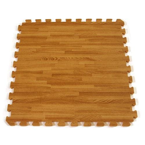 Interlocking Floor Tiles Foam Mat showing one tile. - Wood Grain Reversible Interlocking Foam Floor