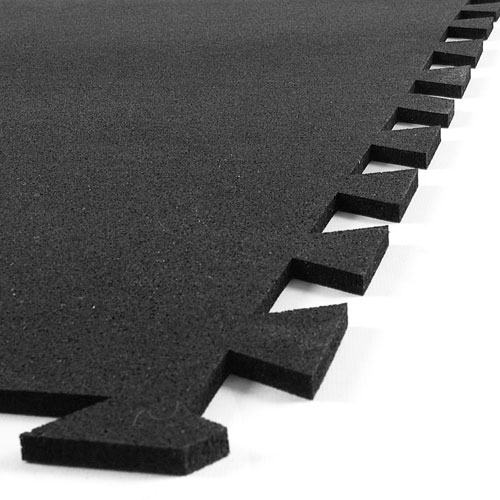 Geneva Rubber Tile 3/8 Inch Black egde of tile.