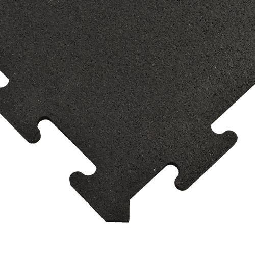 Interlocking Rubber Tile 2x2 Ft X 8 Mm Black Top Corner.