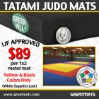 Judo Mats Tatami 1x2 Meter 1.5 Inch Black