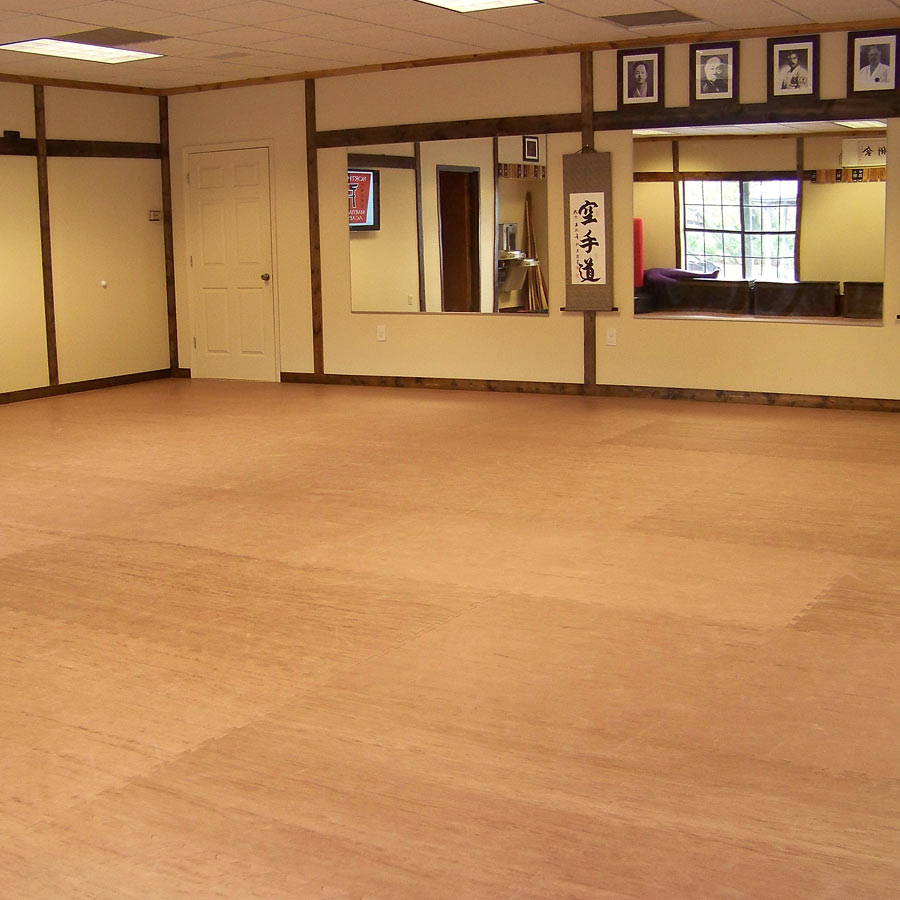 Karate mats showing foam wood grain studio floors for Studio floor