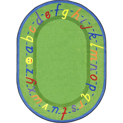 Alphascript 5 feet 4 inches x 7 feet 8 inches green oval