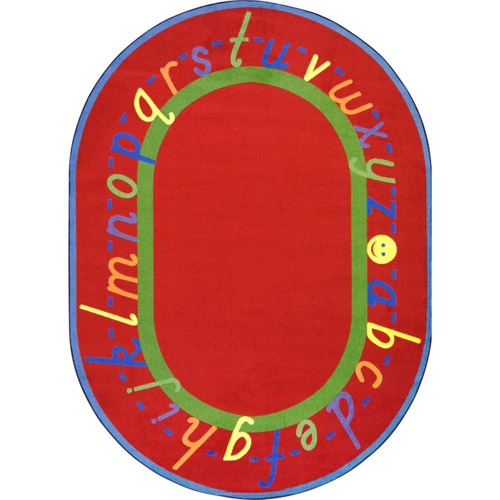 Alphascript 5 feet 4 inches x 7 feet 8 inches red oval