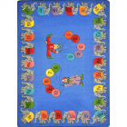Circus Elephant Parade Kids Rug 7 feet 8 inches x 10 feet 9 inches