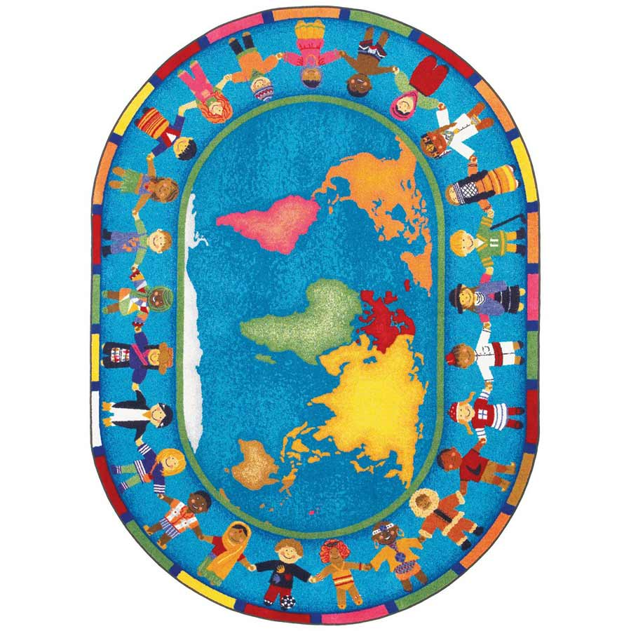 Hands Around The World 5 ft 4 in x 7 ft 8 in - Kids Rug