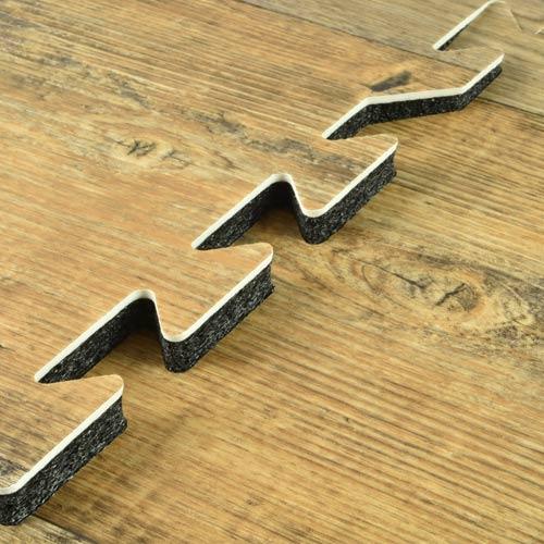 Rustic Wood Grain Foam Tile Connection.