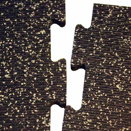 Rubber Tile Diamond 14x14 Ft Kit 3/8 Inch Color Rubber Flooring showing interlock.