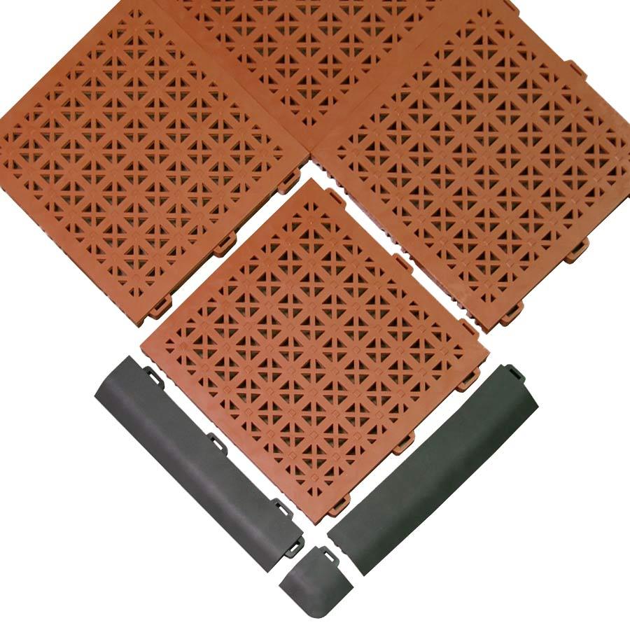 Gym floor tiles staylock orange peel tile gray staylock border edge black 200 staylock corner black dailygadgetfo Images