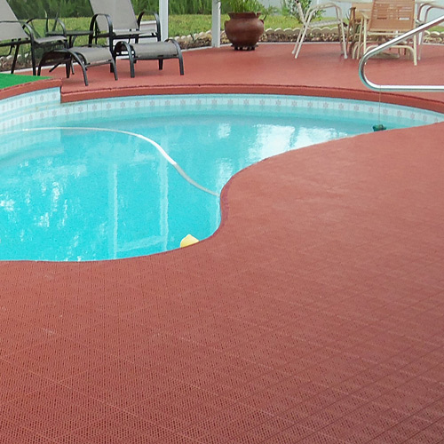 Patio Outdoor Tile Showing Terracotta Pool