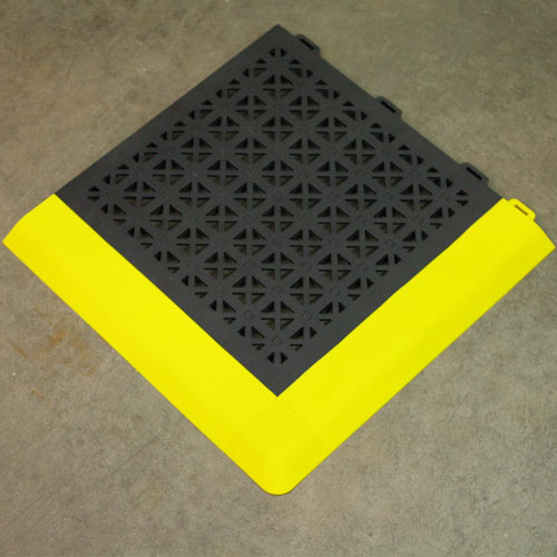 StayLock Perforated Black showing black tile with yellow borders.