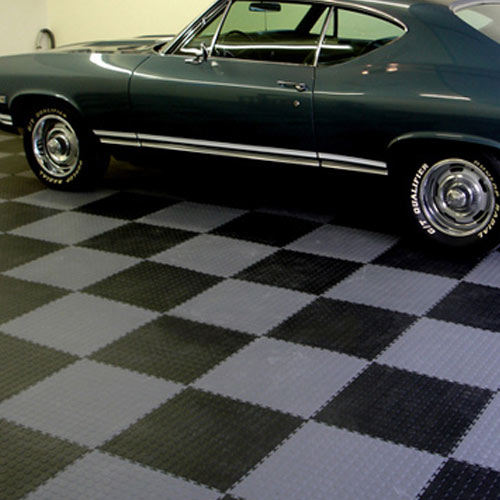 Coin Top Floor Tile Black or Dark Gray 4.5 mm 8 tiles car on tiles.
