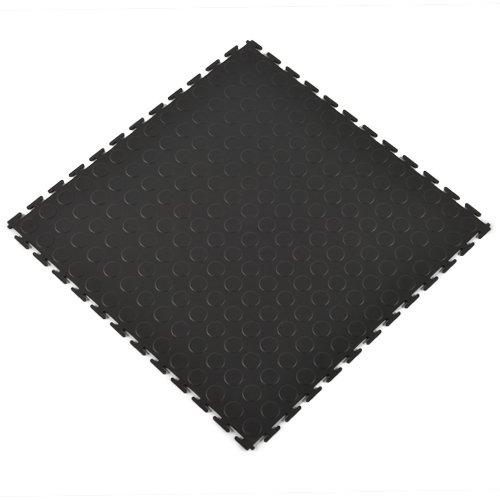 Coin Top Home Floor Tile Black or Dark Gray 8 tiles angled.
